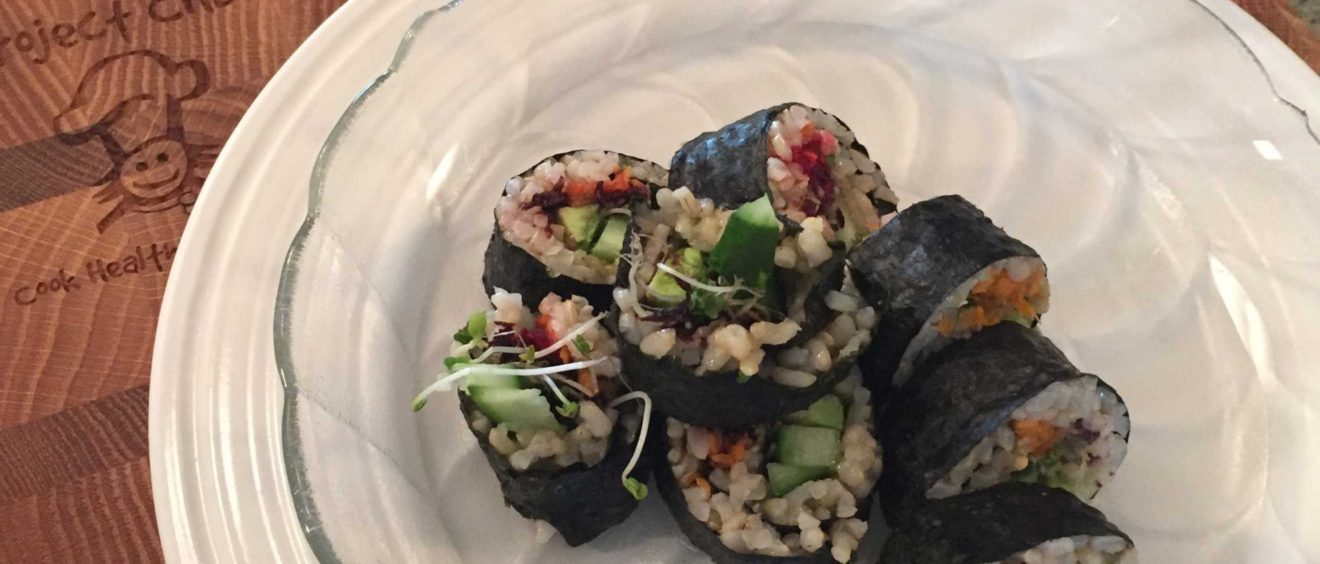 veggie brown rice maki rolls